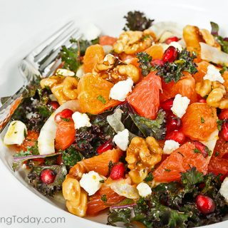 Not your ordinary fruit salad! Citrus Salad recipe gets a nutritional boost with kale, walnuts and pomegranate.