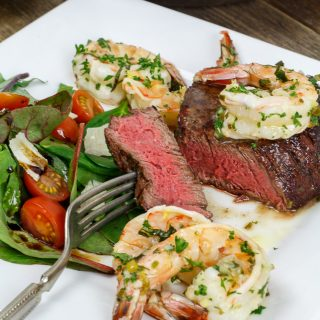 Grilled Steak and Shrimp Scampi for Two: Surf & Turf Date Night Dinner