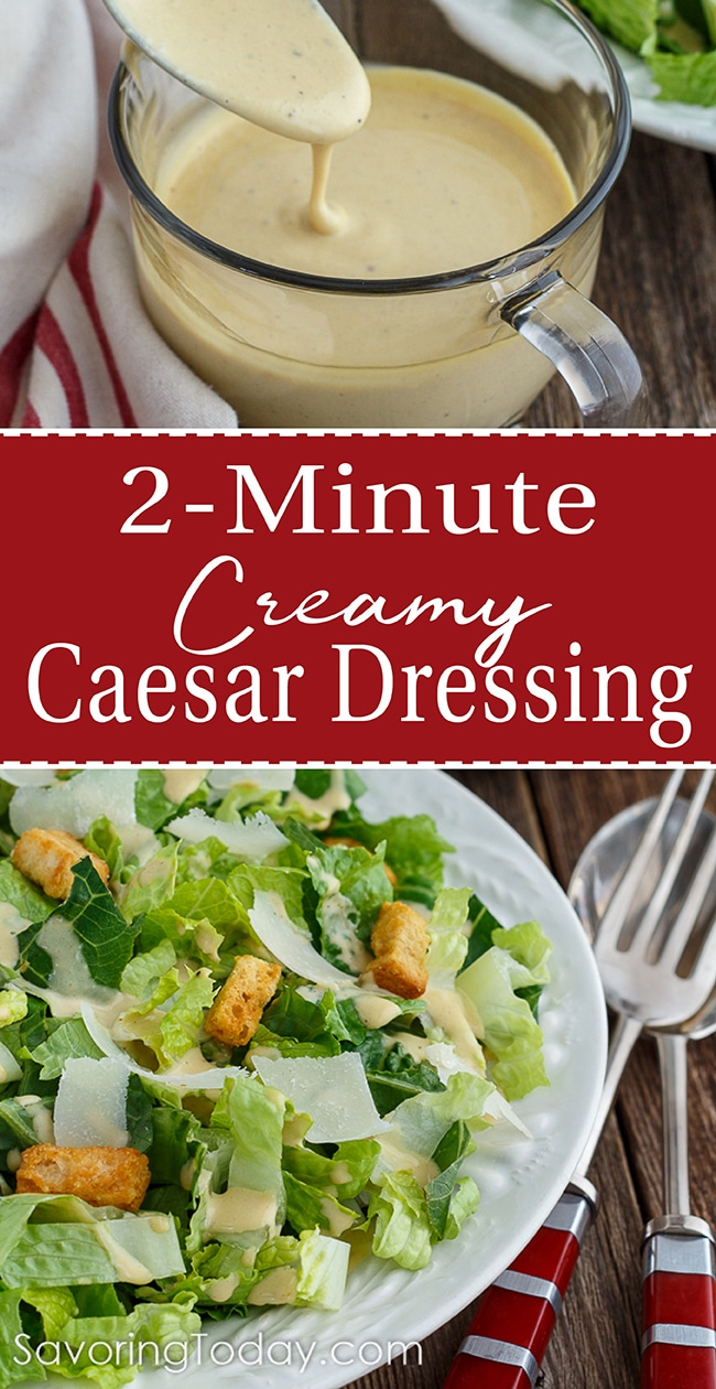 Classic Caesar Salad with creamy dressing and shaved Parmesan in a white bowl.