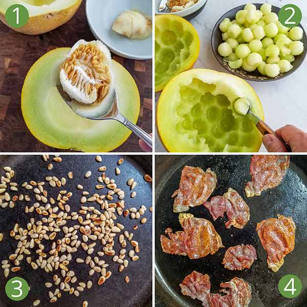 The four steps to preparing galia melon salad.