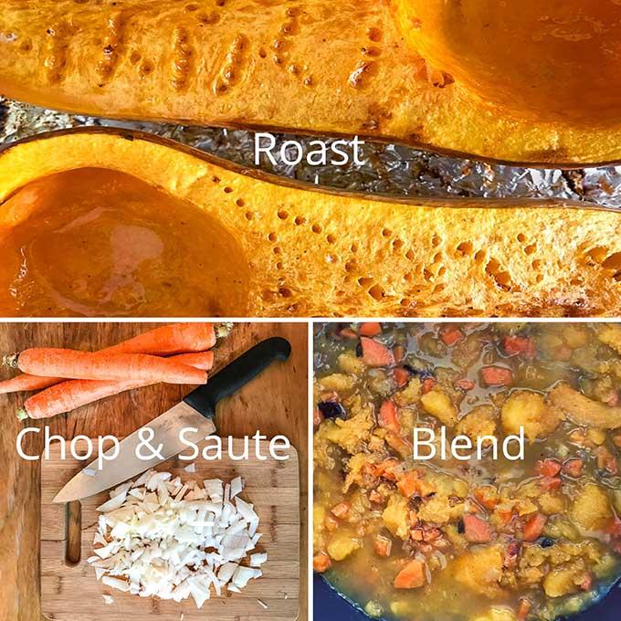 Steps for making butternut squash soup.