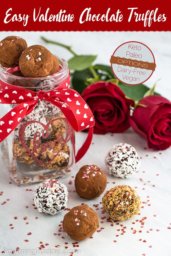 Chocolate truffles in a jar with a ribbon for a homemade Valentine gift.