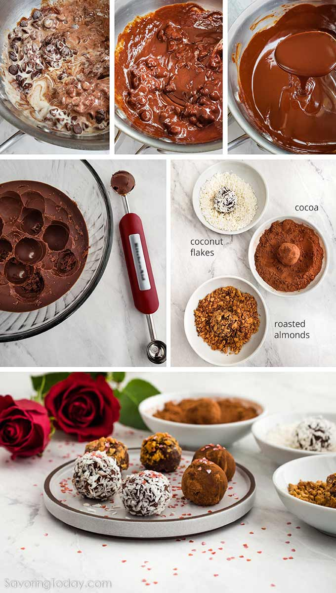 Step by step process of making homemade chocolate truffles.