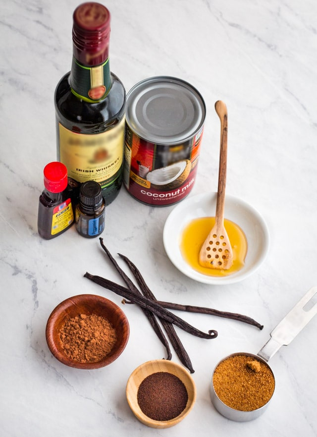 Ingredients for Irish Coffee Creamer (non-dairy) - coconut milk, honey, coconut sugar, instant espresso, cocoa, almond and peppermint extract, Irish whiskey.