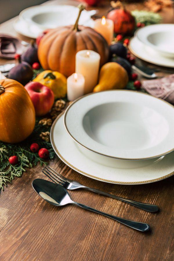 Table set for Friendsgiving sit-down dinner