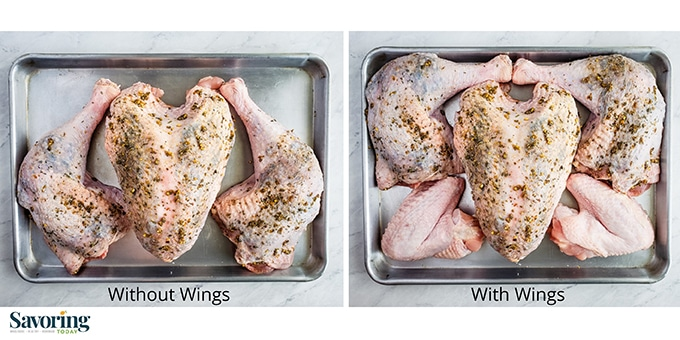 Side by side comparison of how turkey can fit on a rimmed baking sheet.