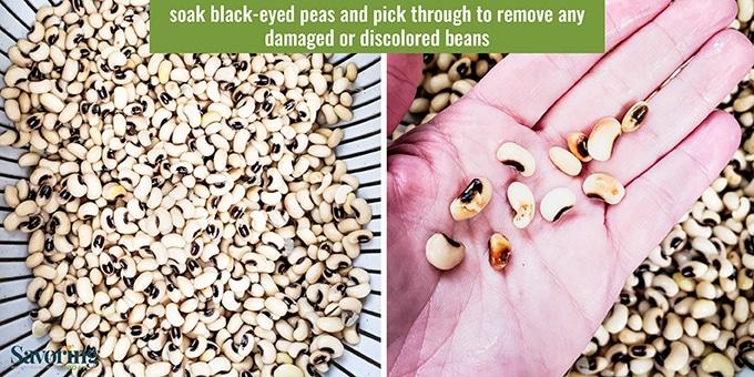 Picking through black-eyed peas in a colander.